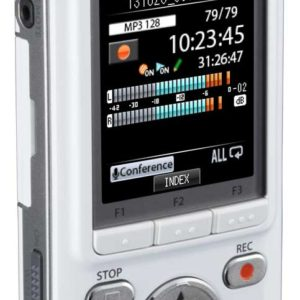 Dm-7 Olympus. White front. Specifically designed for the vision impared and students with learning disabilities. The DM-7 Olympus recorder is the choice